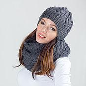 """Аксессуары ручной работы. Ярмарка Мастеров - ручная работа """"Сладкий октябрь"""", комплект вязаный, шарф снуд вязаный и шапка вязаная. Handmade."""
