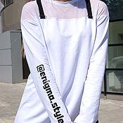 Одежда handmade. Livemaster - original item T-shirt for blogger with your hashtag, women`s asymmetric t-shirt. Handmade.