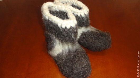 Обувь ручной работы. Ярмарка Мастеров - ручная работа. Купить Бабуши  -чуньки. Handmade. Чёрно-белый, Овечья шерсть