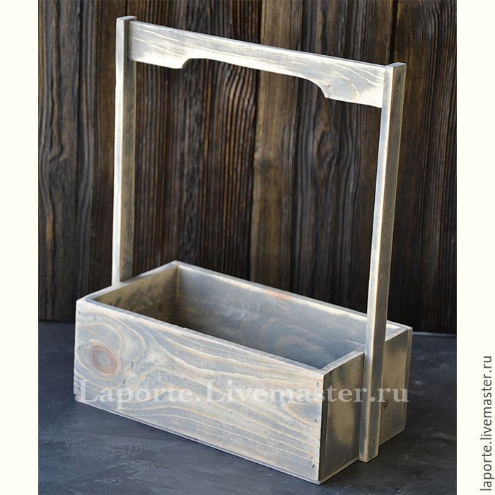 Ящик для цветов #6 деревянный, серого цвета, Упаковка, Москва,  Фото №1