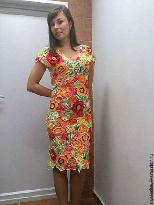 Платье `Яркие краски лета` связано из 100% хлопка  в технике `Ирландское кружево`. Ажурность и яркость не оставят без внимания окружающих. В нем Вы будете ощущать себя удобно и комфортно. К платью Вы