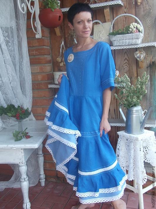 """Платья ручной работы. Ярмарка Мастеров - ручная работа. Купить Бохо-образ""""Чайка"""". Handmade. Голубой, платье в пол"""
