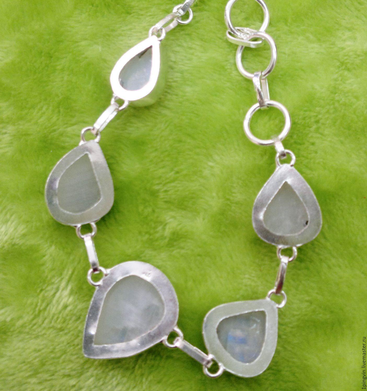 Браслет с лунным камнем (адуляром). Серебро 925 пробы