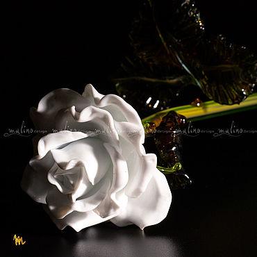 Для дома и интерьера ручной работы. Ярмарка Мастеров - ручная работа Белая роза из стекла.MD-ROSE-G-M-W-28. Handmade.