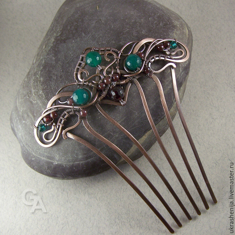 Comb hair with a chrysoprase, and garnet, Comb, Vladimir,  Фото №1