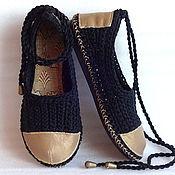 Обувь ручной работы. Ярмарка Мастеров - ручная работа Балетки вязаные Интуи, черные, р. 38, хлопок. Handmade.