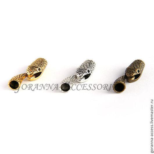 Для украшений ручной работы. Ярмарка Мастеров - ручная работа. Купить Застежка-крючок Змея, внутр. диаметр 7 мм. Handmade.