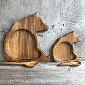 Тарелки ручной работы. Ярмарка Мастеров - ручная работа Тарелка деревянная Медведь. Handmade.