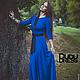 Платья ручной работы. Платье в пол с рукавами 3/4 синий электрик. Dudu-dress. Интернет-магазин Ярмарка Мастеров. Синий