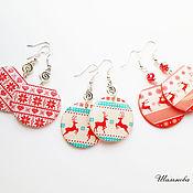 Украшения handmade. Livemaster - original item Round earrings made of polymer clay motifs winter deer snowflake knit. Handmade.