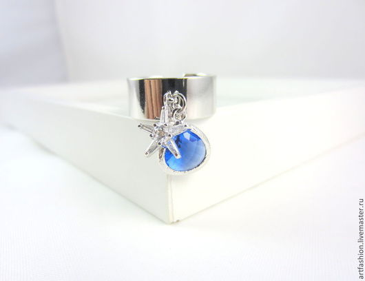 Кольцо от Марии Гербст  `Ночное небо`. Кольцо авторское `Ночное небо` с подвесками. Кольцо серебряное двойное с камнем `Ночное небо`