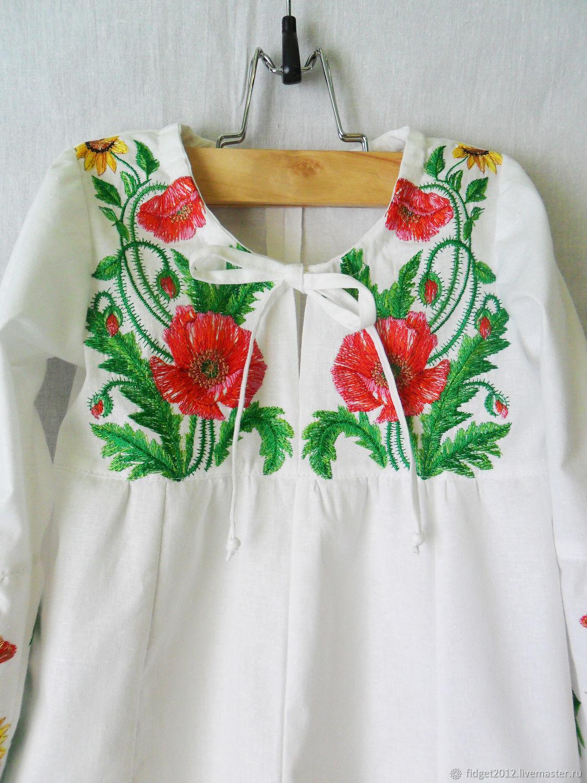 Туника вышитая  для девочки,блузка детская с вышивкой,вышиванка