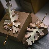 """Свадебный салон ручной работы. Ярмарка Мастеров - ручная работа Невидимки """"Листья"""" с жемчугом. Handmade."""
