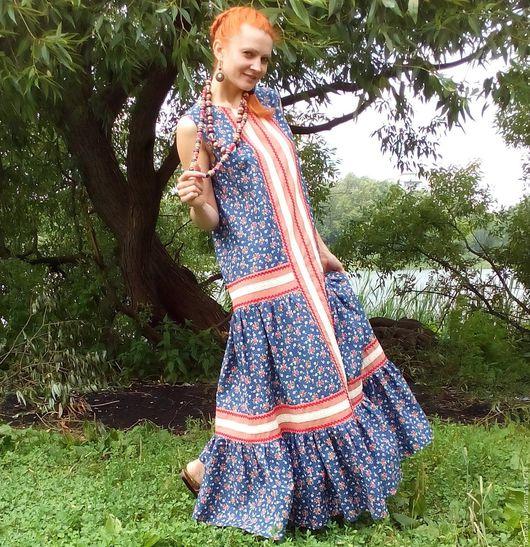 Платья ручной работы. Ярмарка Мастеров - ручная работа. Купить Бохо-платье из хлопка на лето или сарафан. Handmade. Комбинированный