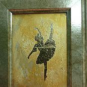 Картины и панно ручной работы. Ярмарка Мастеров - ручная работа Балерина в золотом подарок балерине мини картина панно зеркало. Handmade.