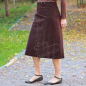 Одежда handmade. Livemaster - original item Skirt long MIDI suede Chocolate with a smooth edge. Handmade.