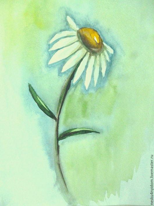ромашка, рисунок, акварель, рисунок акварелью, салатовый, голубой, жёлтый, рисунок ромашки, флора ромашка акварелью, акварельный рисунок, купить акварель недорого, светлая картина, авторская акварель.