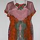 Платье из натурального крепдешина, окрашенного вручную. Ожерелье сшито из этого же отреза крепдешина