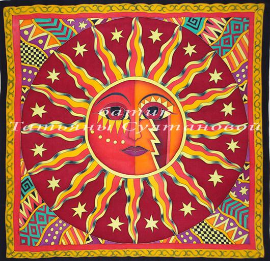 """Шали, палантины ручной работы. Ярмарка Мастеров - ручная работа. Купить платок батик """"Солнце красное"""". Handmade. Ярко-красный"""