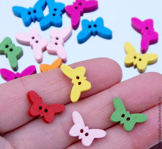 Шитье ручной работы. Ярмарка Мастеров - ручная работа. Купить Пуговицы бабочки разноцветные деревянные тонированные детские пуговицы. Handmade.