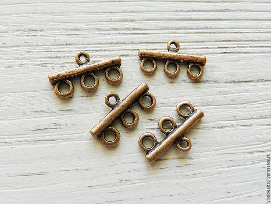 Коннектор металлический для украшений на 3 нити размер 21.5 мм*11 мм*3 мм цвет МЕДЬ,  материал - сплав металлов, не содержит свинца и кадмия (арт. 2039)