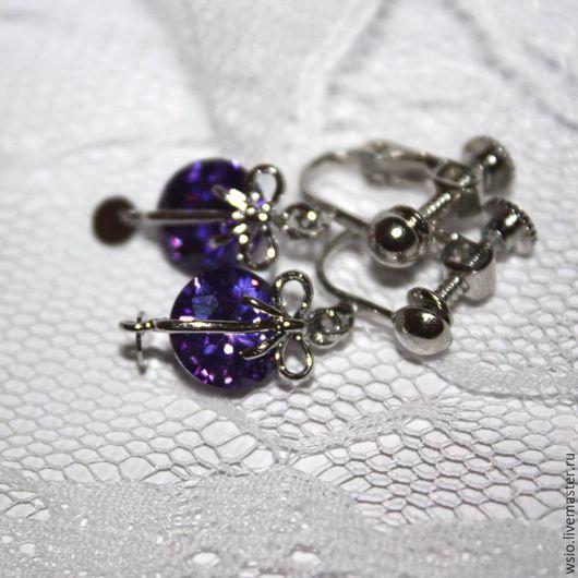 Клипсы (серьги) `Фиолетовый бантик` с цирконием. Купить украшения в подарок.Купить подарок двойняшкам.Купить украшения в подарок.