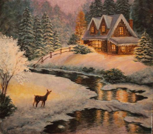 Пейзаж ручной работы. Ярмарка Мастеров - ручная работа. Купить Картина акрилом Пряничный домик. Handmade. Синий, картина, зима