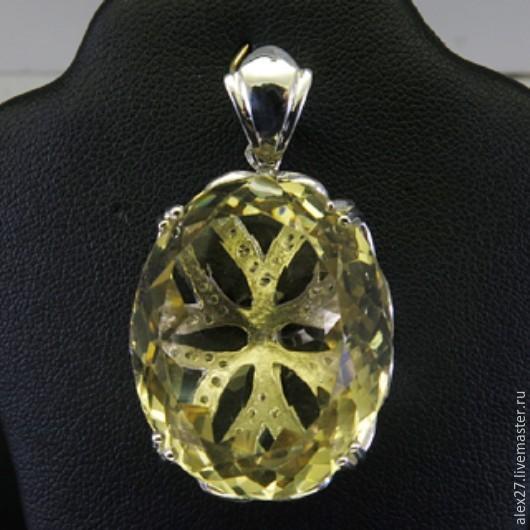 Кулон цитрин сапфир серебро 925