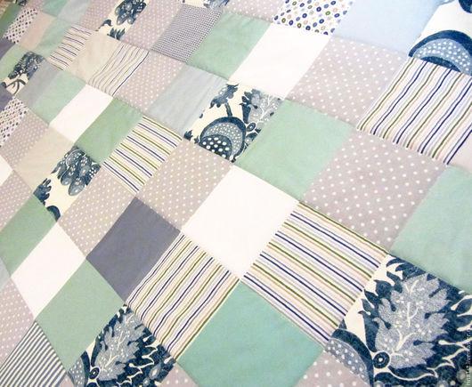 """Текстиль, ковры ручной работы. Ярмарка Мастеров - ручная работа. Купить лоскутное одеяло """"прованс"""". Handmade. Прованс, голубой, тиффани"""