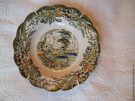 Винтажная посуда. Ярмарка Мастеров - ручная работа. Купить Коллекционная, настенная тарелочка , Staffordshir,   Англия. Handmade. Комбинированный
