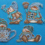 Подарки к праздникам handmade. Livemaster - original item Cross stitch magnets Snowmen. Handmade.