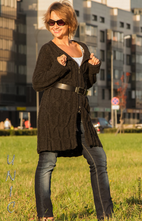 """Верхняя одежда ручной работы. Ярмарка Мастеров - ручная работа. Купить Пальто вязаное """"ШЕННОН"""". Handmade. Темно-серый"""