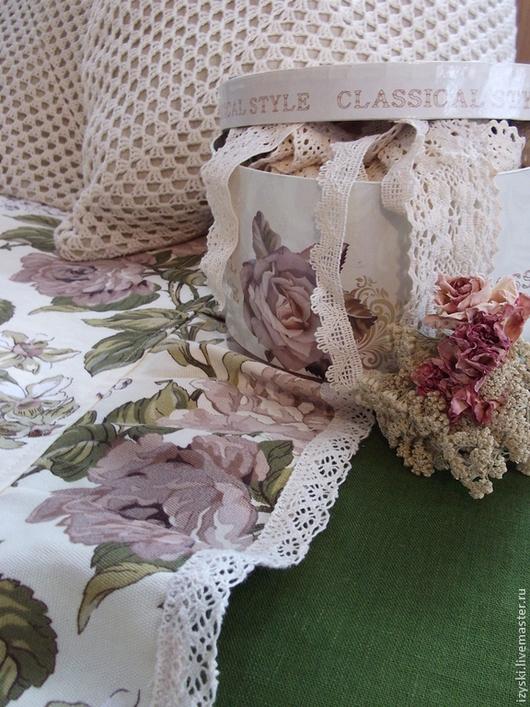 """Текстиль, ковры ручной работы. Ярмарка Мастеров - ручная работа. Купить Покрывало """"Английская роза""""(винтаж). Handmade. Бежевый, покрывало льняное"""