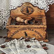 """Для дома и интерьера ручной работы. Ярмарка Мастеров - ручная работа Чайный короб  комод с льняными мешочками и ложкой """" Tea room"""". Handmade."""
