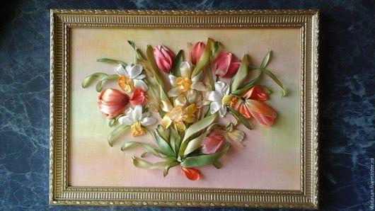 Подарки на Пасху ручной работы. Ярмарка Мастеров - ручная работа. Купить Весна. Handmade. Цветы из ткани, вышивка лентами картины