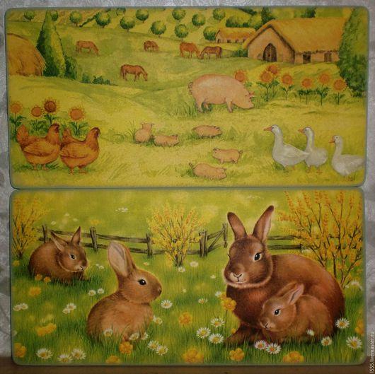 """Кухня ручной работы. Ярмарка Мастеров - ручная работа. Купить """"Кролики, свинки, куры. гуси"""" Разделочная доска панно. Handmade."""