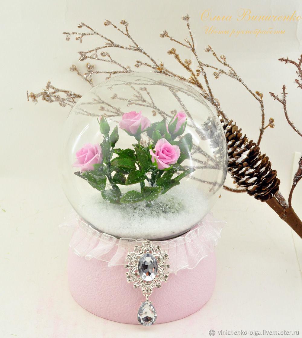 Новогодний шар с розами в снегу, Елочные игрушки, Ростов-на-Дону,  Фото №1