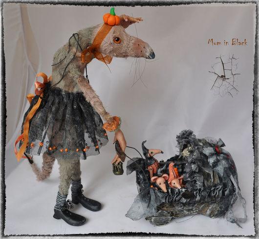 Игрушки животные, ручной работы. Ярмарка Мастеров - ручная работа. Купить Игрушка интерьерная КрысяМать Mum in Black Хэллоуин. Handmade.