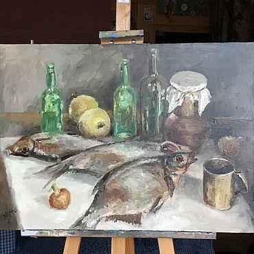"""Картины и панно ручной работы. Ярмарка Мастеров - ручная работа Картина маслом """"В деревенской рюмочной"""". Handmade."""