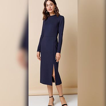 Одежда ручной работы. Ярмарка Мастеров - ручная работа Трикотажное платье в темно-синем цвете. Handmade.