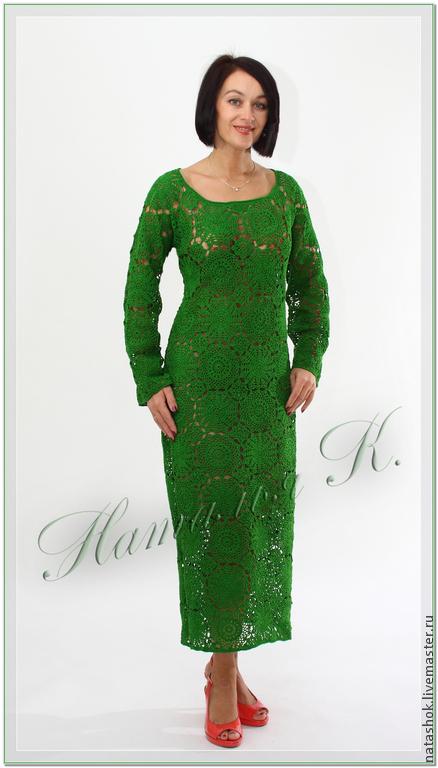 Платья ручной работы. Ярмарка Мастеров - ручная работа. Купить Волшебство кружев. Handmade. Зеленый, платье летнее, платье вязаное