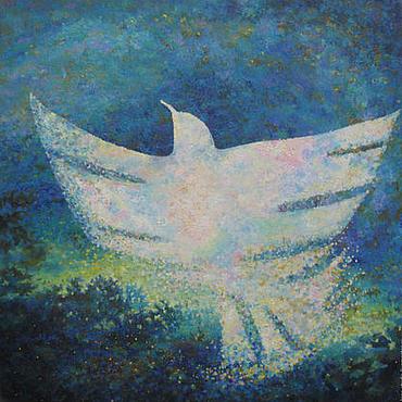 Картины и панно ручной работы. Ярмарка Мастеров - ручная работа Белая синяя птица. Handmade.