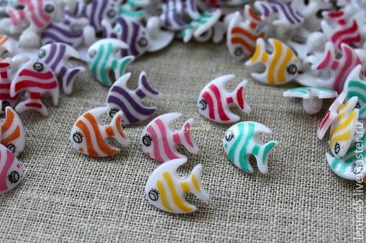 Шитье ручной работы. Ярмарка Мастеров - ручная работа. Купить Пуговицы рыбки. Handmade. Пуговицы, пуговицы для игрушек, пуговицы для кукол