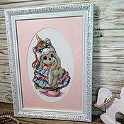 Картины и панно handmade. Livemaster - original item Picture cross stitch Bunny Unicorn cross stitch. Handmade.