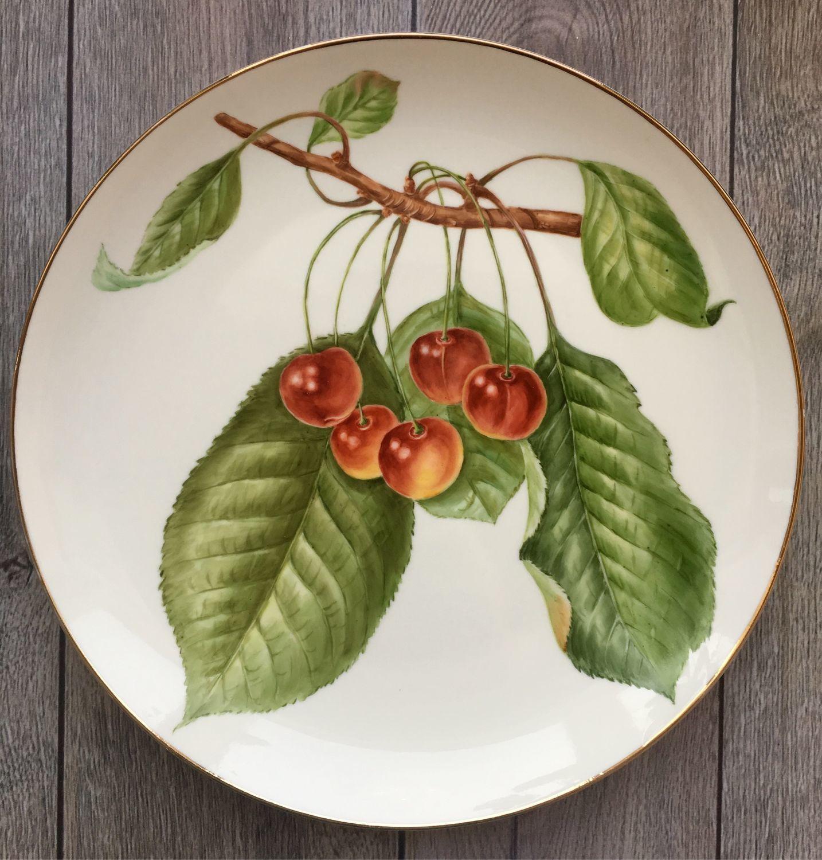 Painted porcelain. Plate ' Cherries», Plates, Kaluga,  Фото №1
