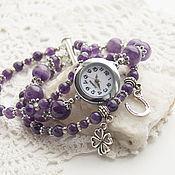 """Украшения ручной работы. Ярмарка Мастеров - ручная работа """"Счастливый клевер"""" - часы-талисман (аметист). Handmade."""