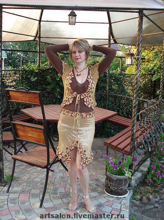 """Костюмы ручной работы. Ярмарка Мастеров - ручная работа. Купить Костюм """"Золотой шоколад"""". Handmade. Вязание крючком, вязанный костюм"""