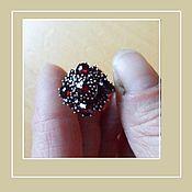 Винтаж ручной работы. Ярмарка Мастеров - ручная работа Квадратное кольцо с гранатами. Handmade.