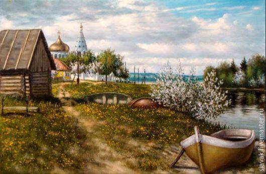 Пейзаж ручной работы. Ярмарка Мастеров - ручная работа. Купить Лодки. Handmade. Зеленый, Деревенский пейзаж, холст на подрамнике