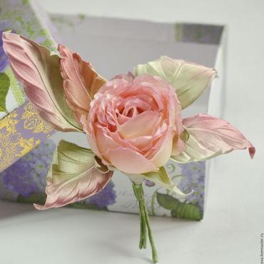 """Украшения ручной работы. Ярмарка Мастеров - ручная работа Текстильная роза - брошь из шелка """"Розовый фламинго"""". Handmade."""